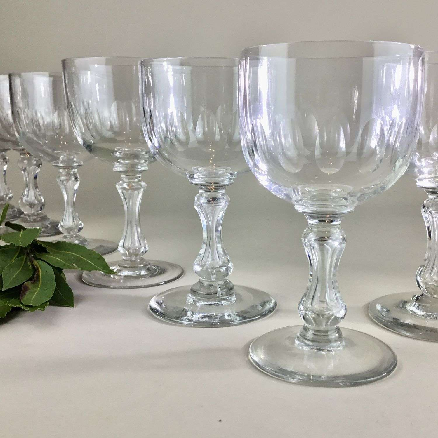 Matched set of ten Victorian bubble stemmed wine glasses