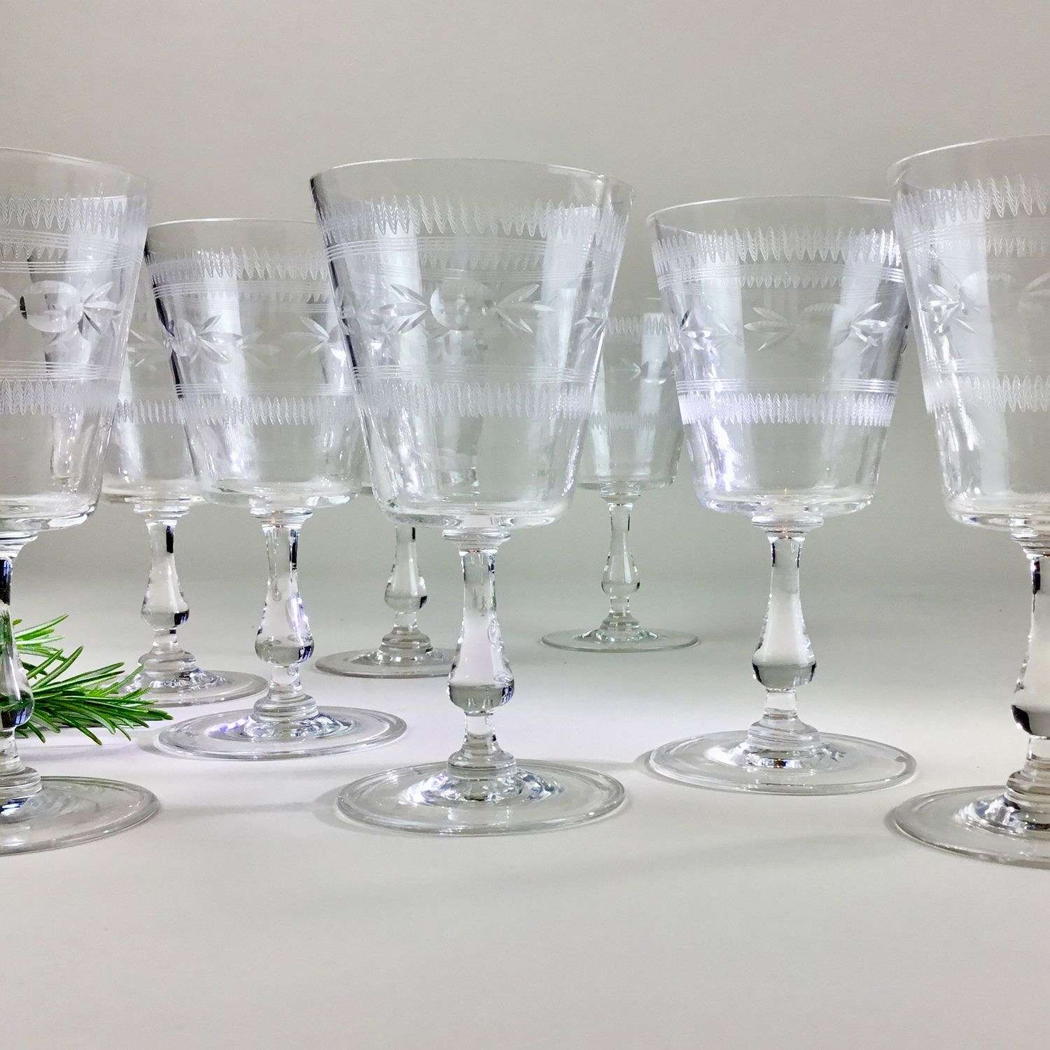 Elegant set of eight large etched wine glasses