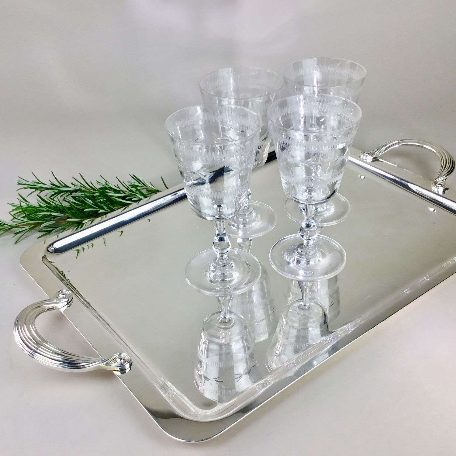 Exceptional quality silver plated drinks tray by Christofle