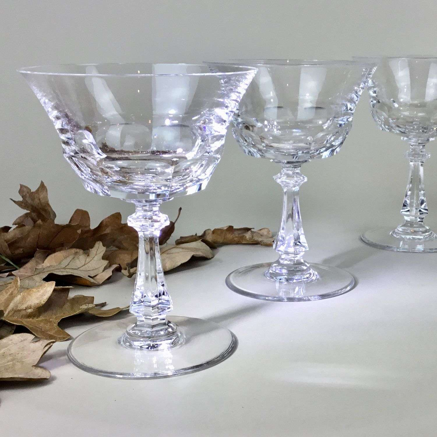 Sensational set of Val St Lambert crystal champagne coupes