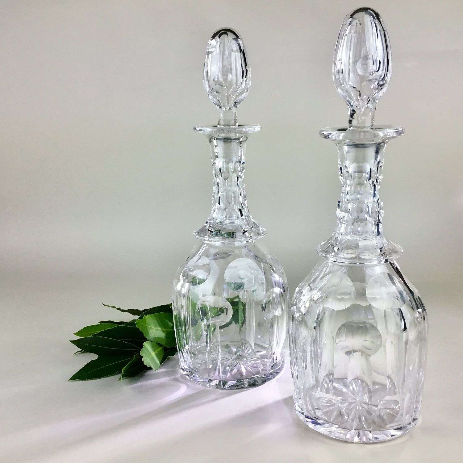 Smart pair of cut glass Edwardian decanters