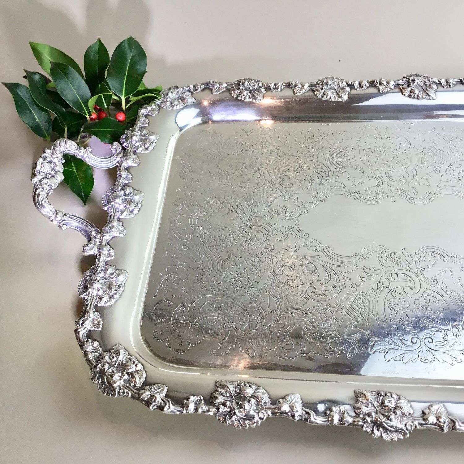 Excellent quality silver plated two handled tray