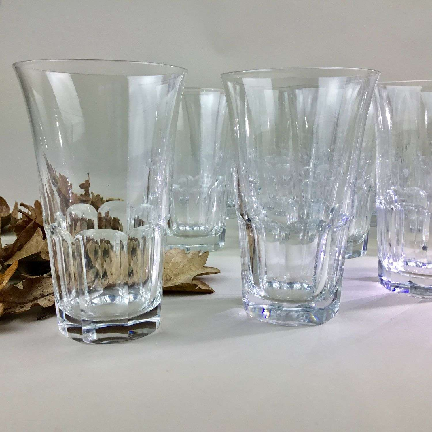 14 beautiful crystal tumblers by Val St Lambert