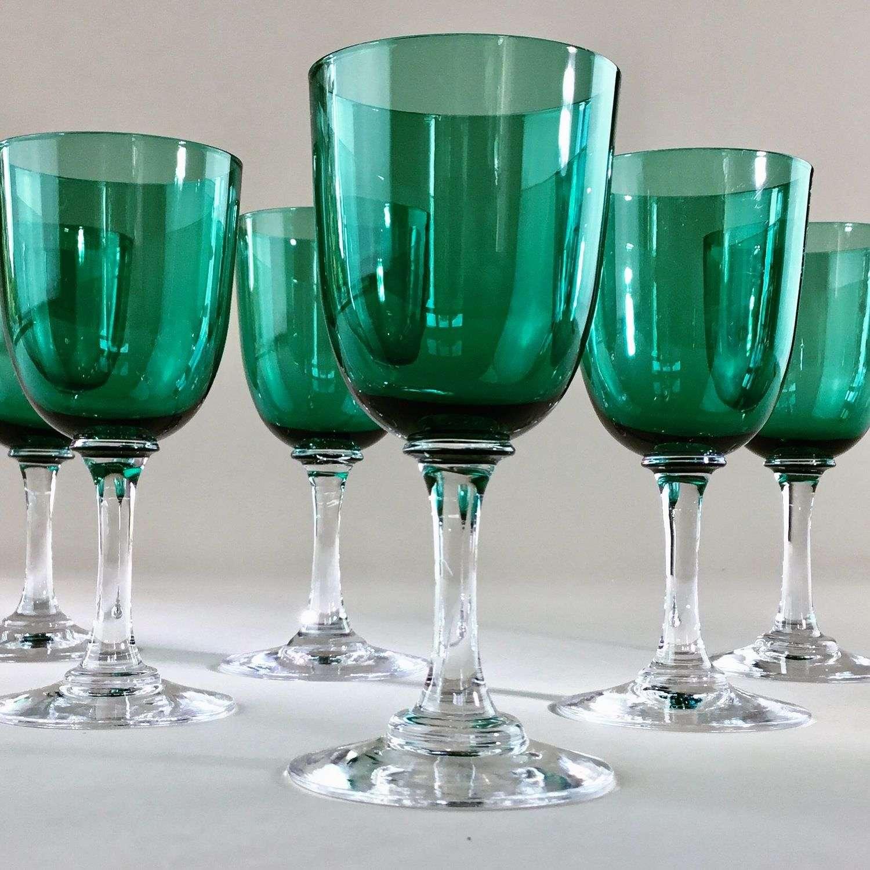 Set of six finest crystal green glasses