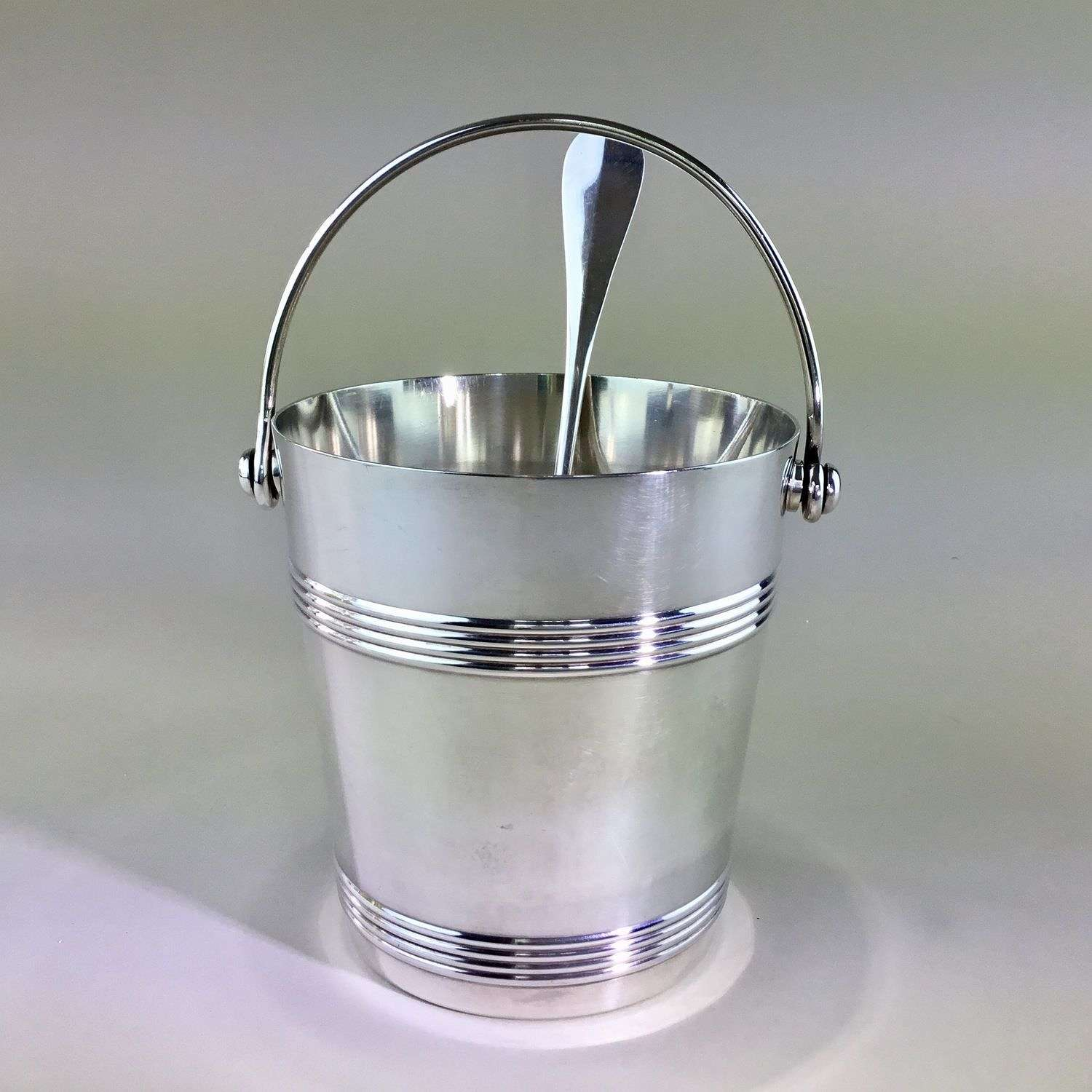 Christofle Gallia silver plated ice bucket and spoon