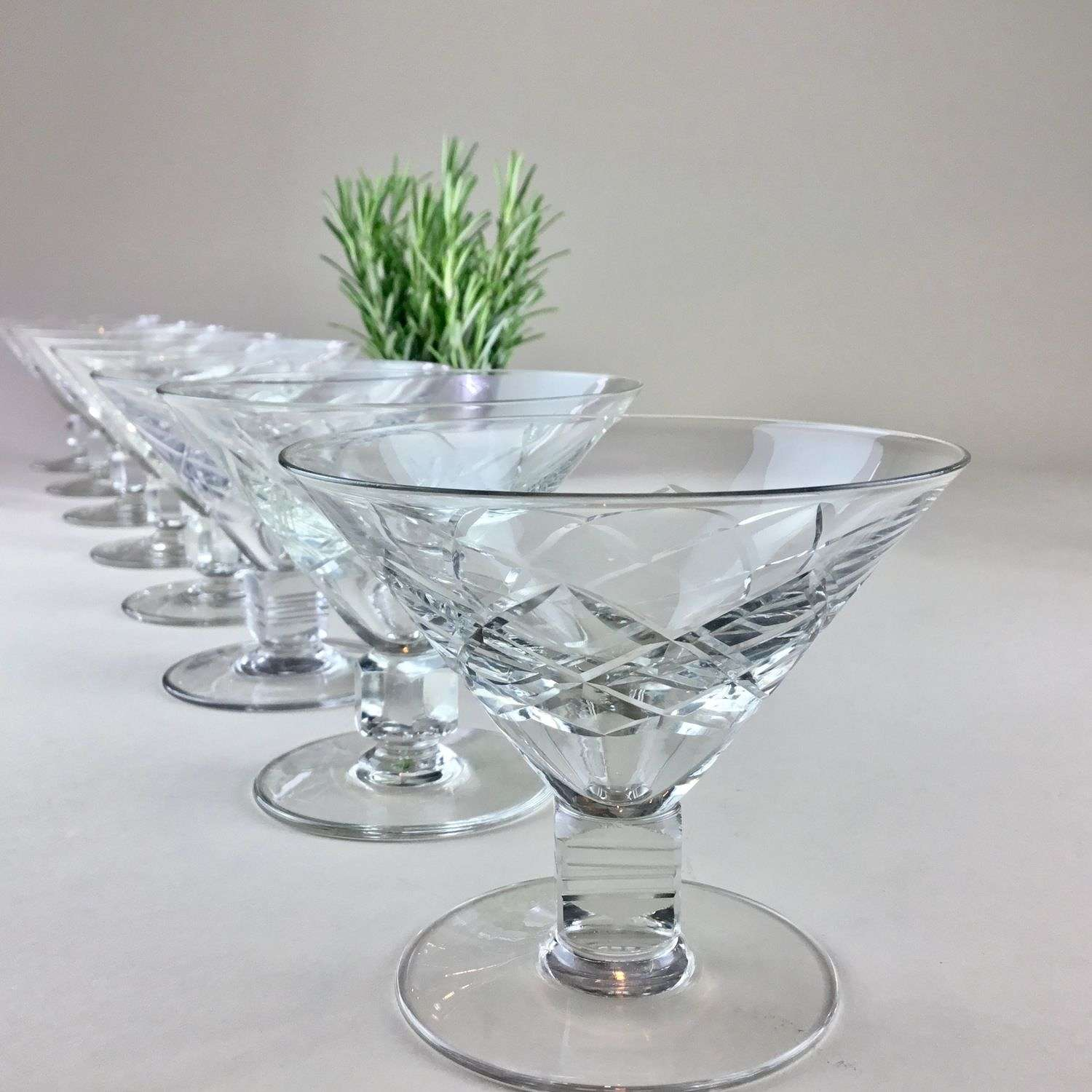 Set of eight Martini cocktail glasses