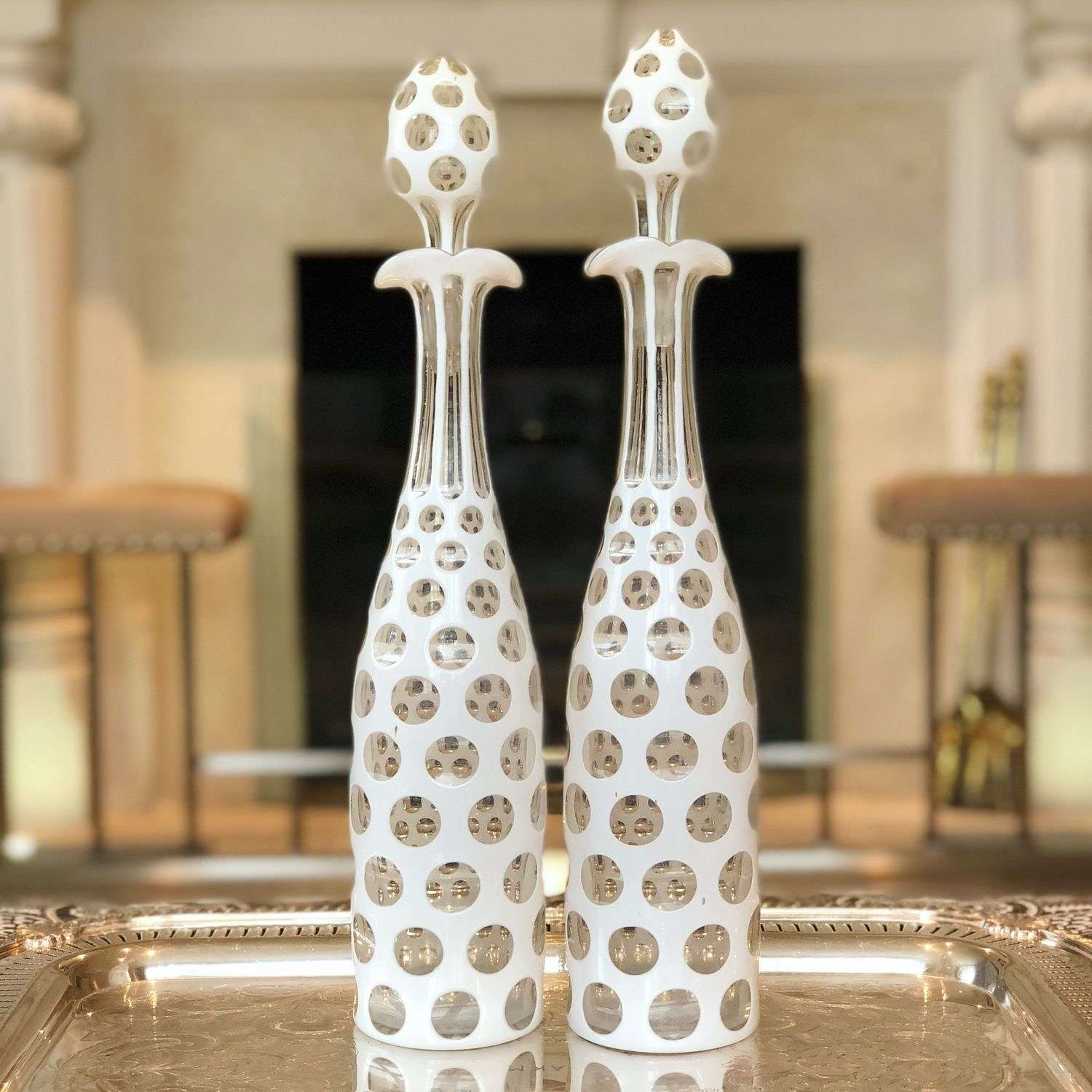 Exquisite pair of white overlay glass decanters Circa 1870s
