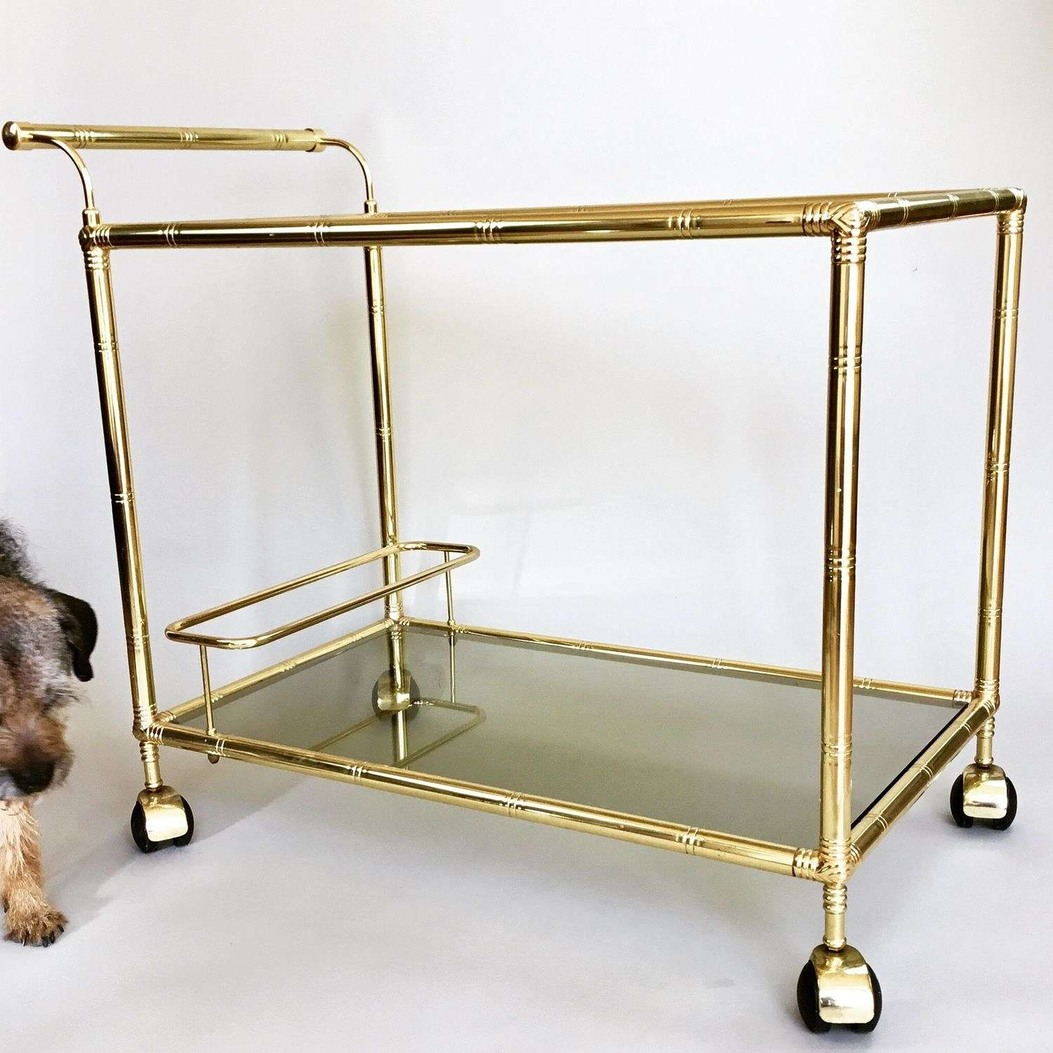 French gold bamboo cocktail trolley