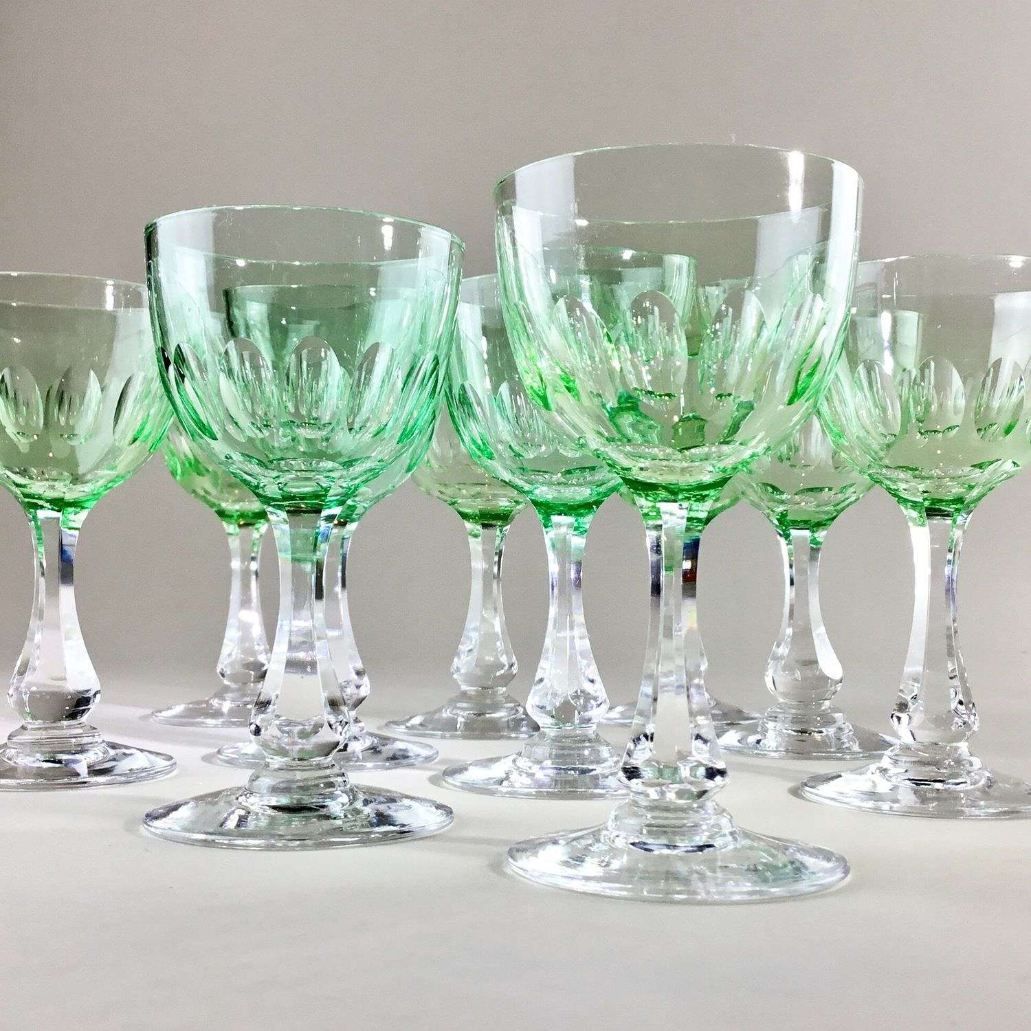 Ten Vaseline Val St Lambert crystal glasses