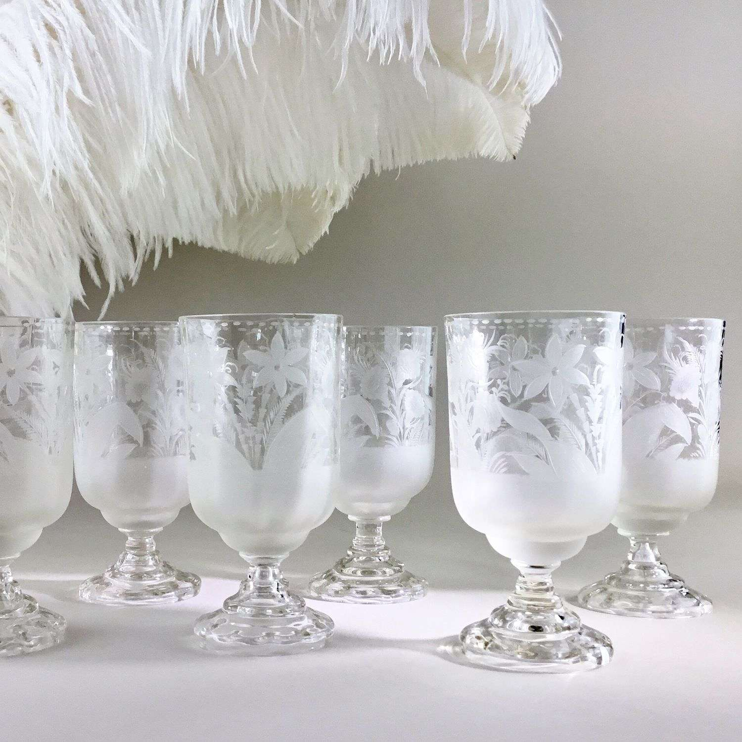 Beautiful early 1900s acid etched French glasses