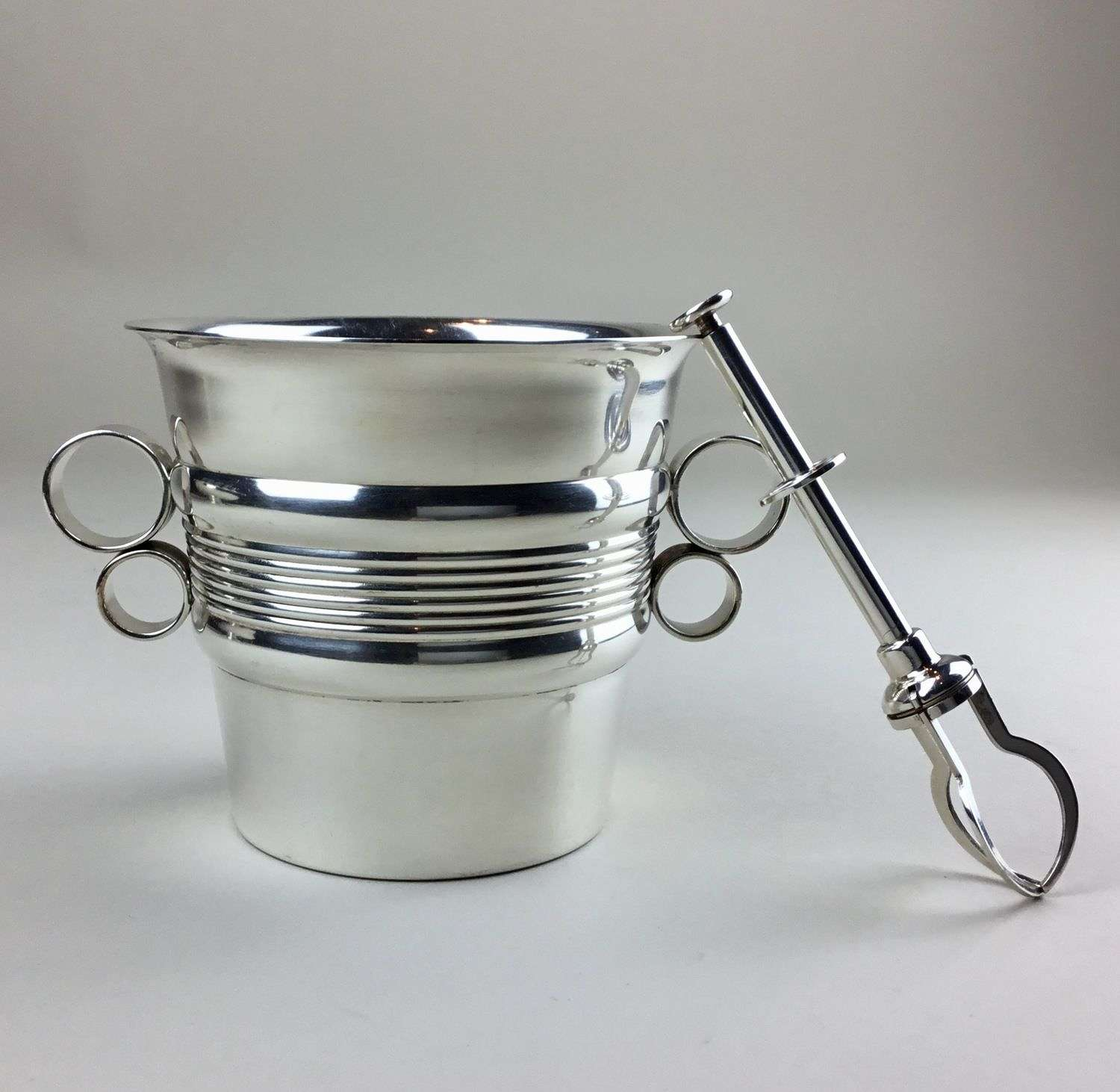 Art Deco ice bucket and tongs