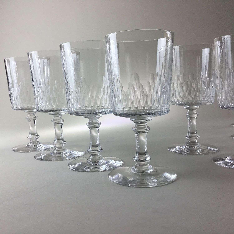 Unusual set of 12 Baccarat wine glasses 1950s