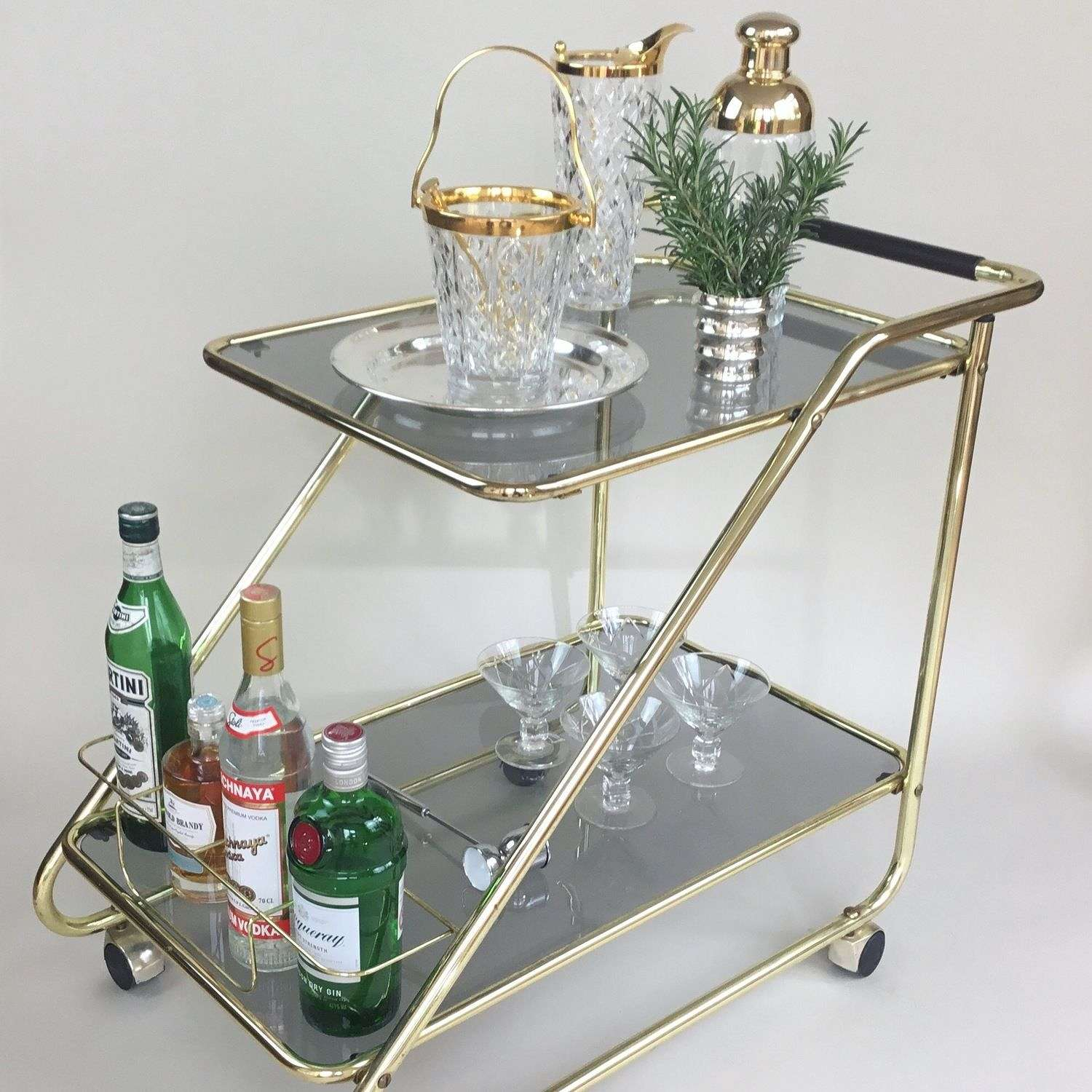 1960s smoked glass Drinks trolley