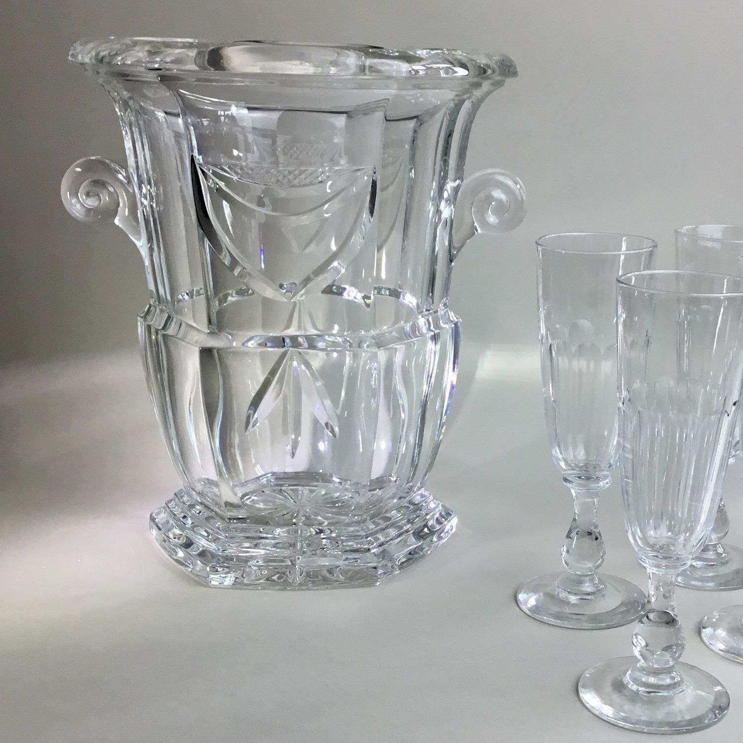 Heavy crystal Art Deco wine cooler