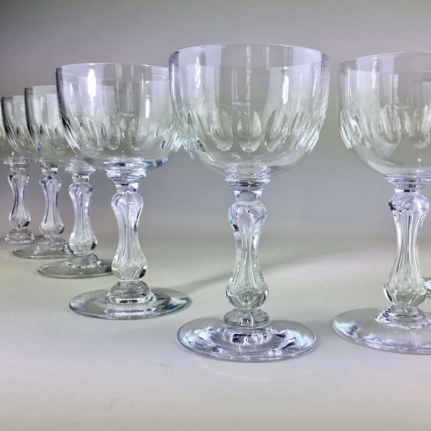 Splendid set of 9 Val St Lambert crystal wine glasses