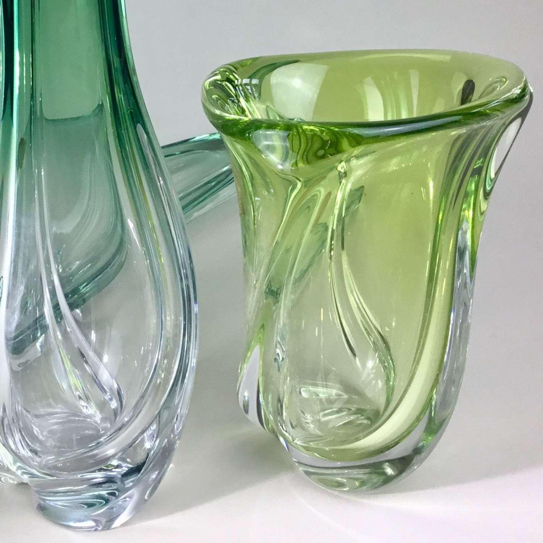 Val St Lambert green crystal vase