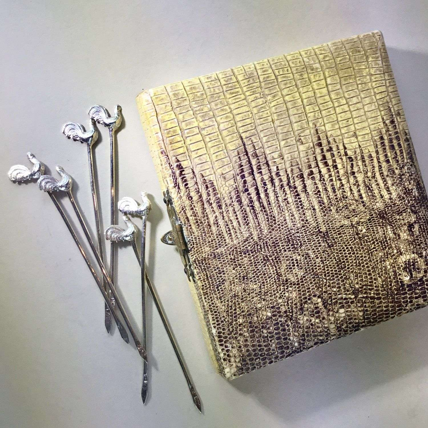 Art Deco silver cocktail sticks