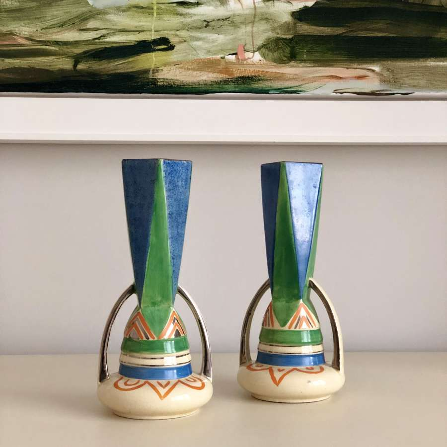 Jazzy Art Deco hand painted tall vases