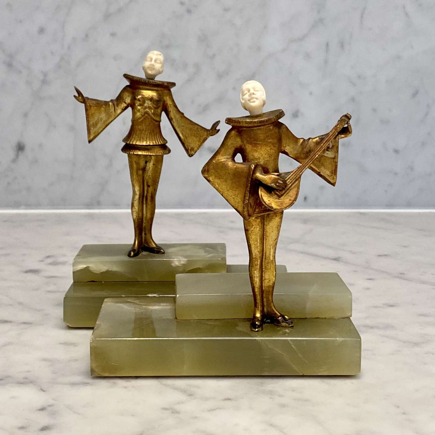 Exceptional Art Deco Pierrot Minstrel book ends