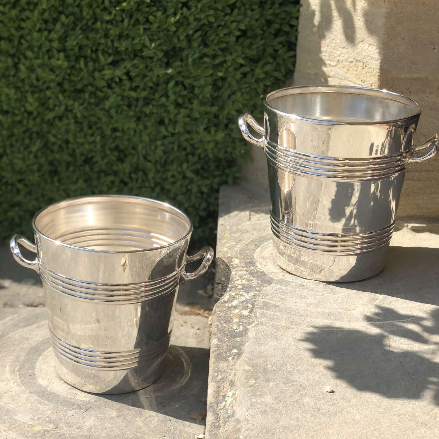 Pair of fine English Art Deco champagne wine bucket coolers