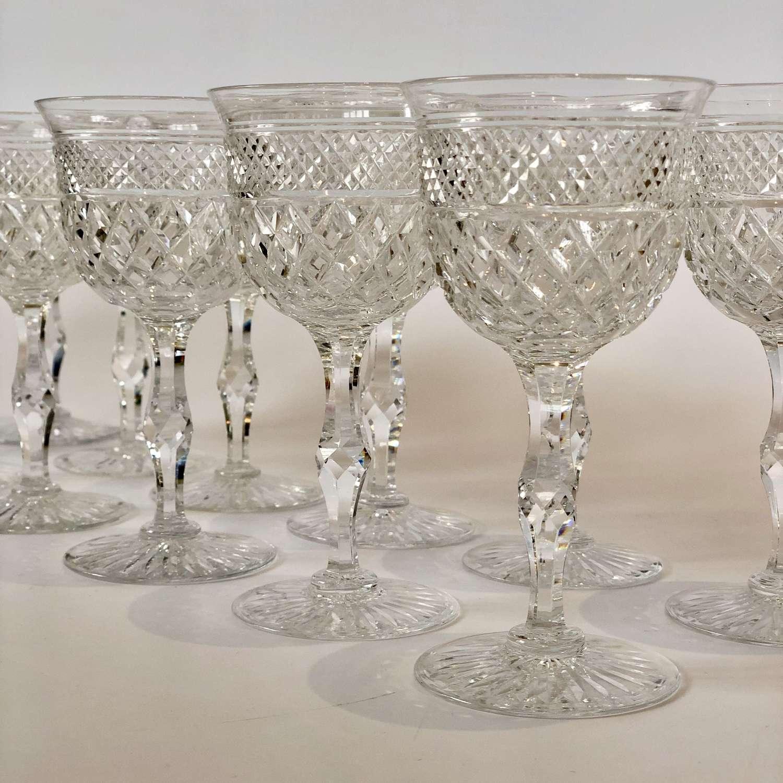 A dozen English crystal wine glasses Circa 1930s by Thomas Webb