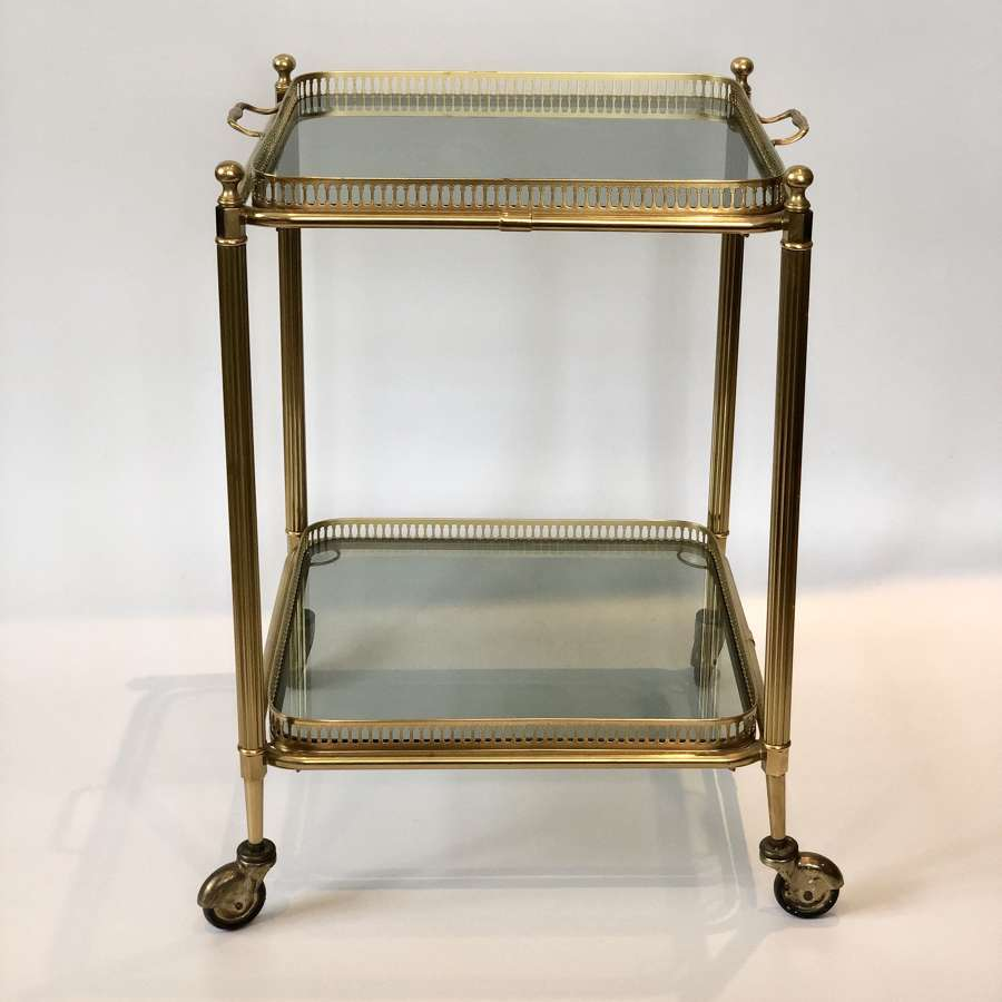 Vintage square brass & smoked glass cocktail trolley bar cart
