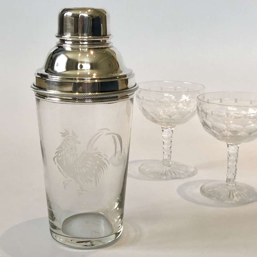 English etched glass cockerel cocktail shaker