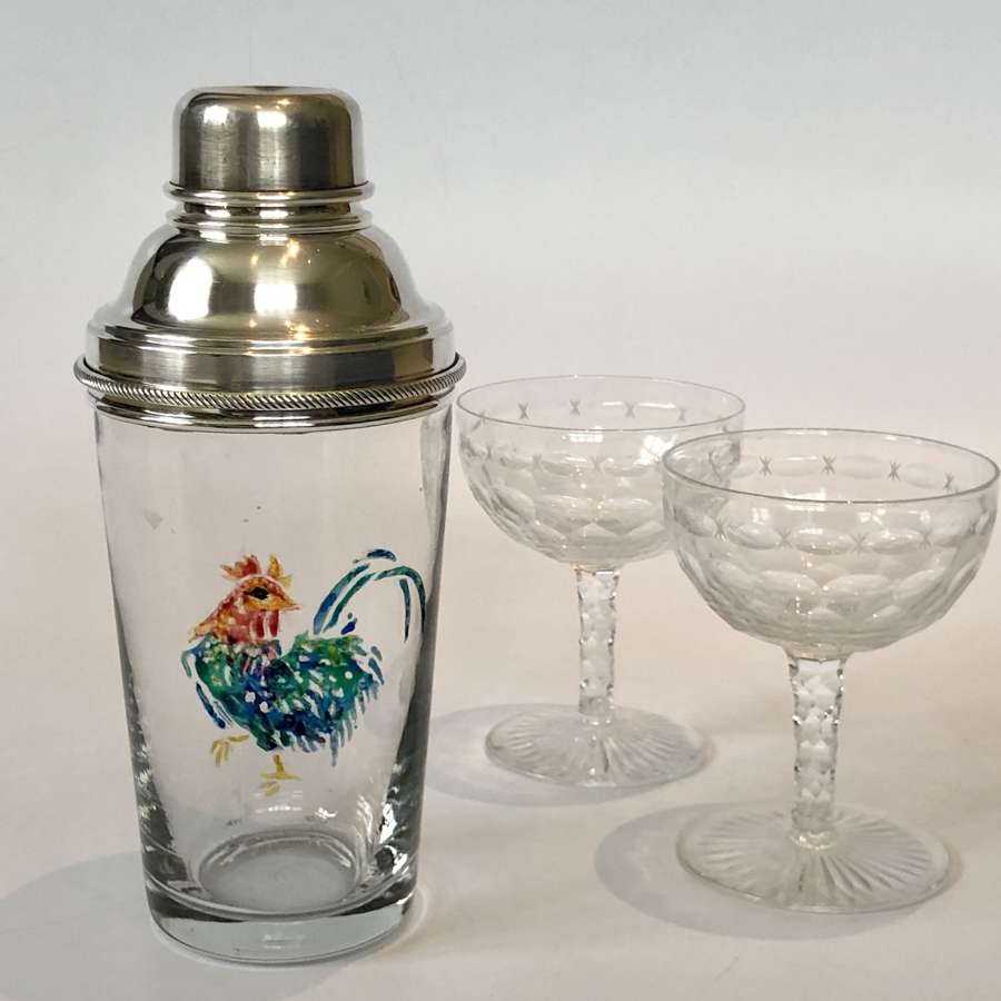 Rare English cockerel cocktail shaker by James Dixon