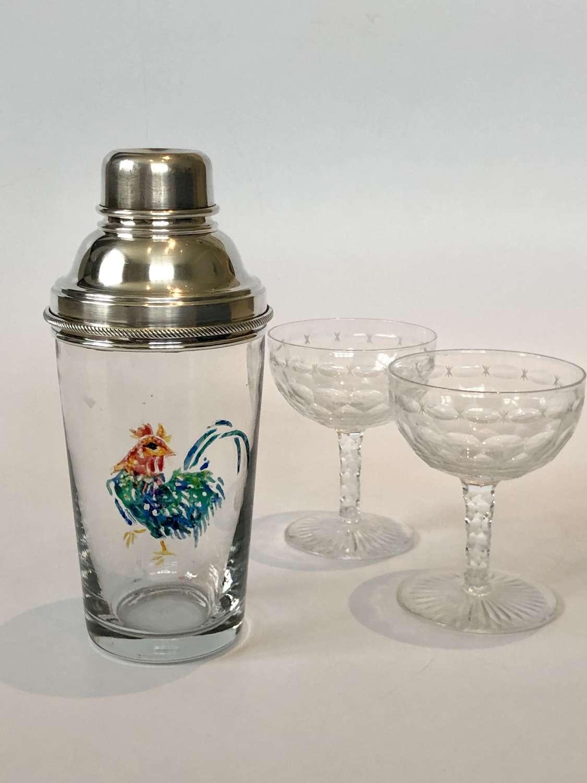 Rare English cockerel cocktail shaker by James Dixon