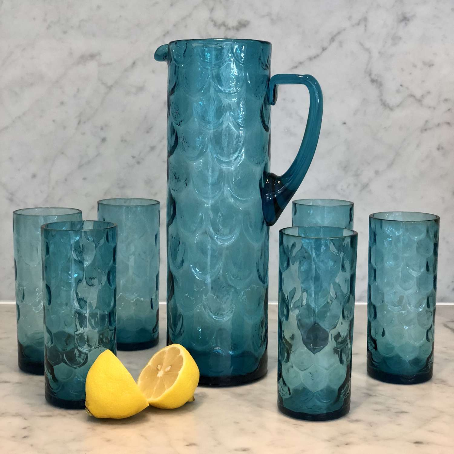 Retro fish scale pattern glass tall jug and tumblers