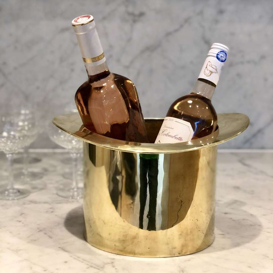 Art Deco brass Top Hat magnum wine or champagne bucket cooler