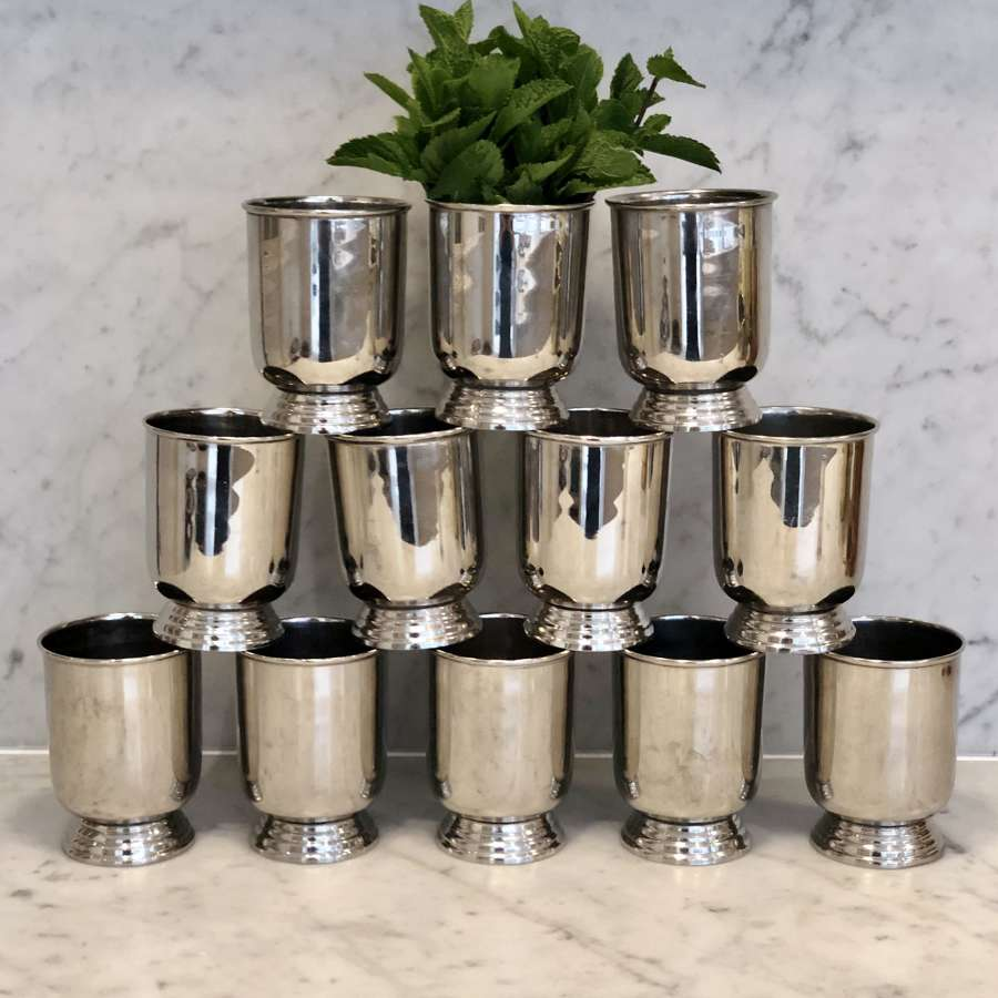 Set of 12 old silver plated picnic beaker cups