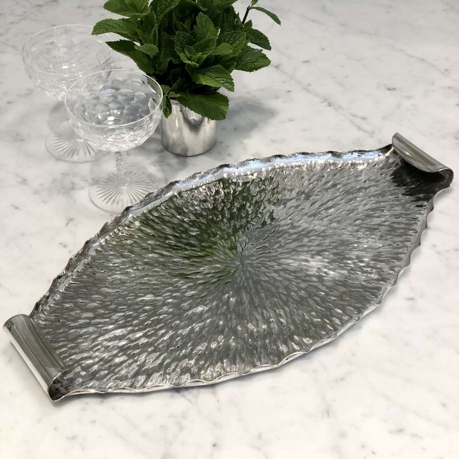 Aesthetic Movement oval silver plated tray by Dr Christopher Dresser