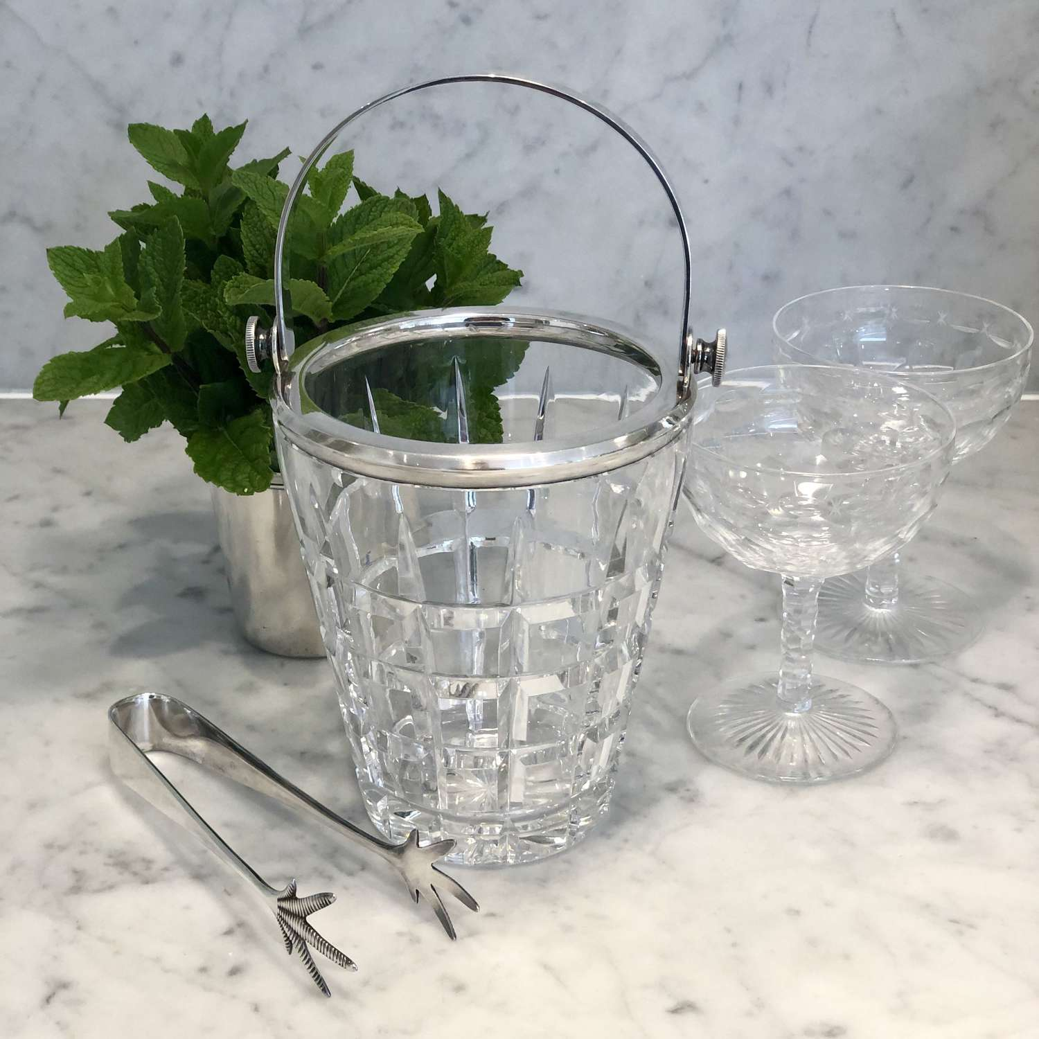 Excellent quality solid silver & cut crystal swing handle ice bucket
