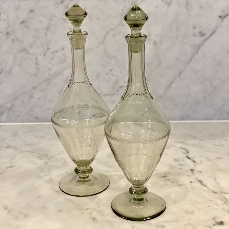 Pair of smokey green glass pedestal decanters, Scandinavian Circa 1910