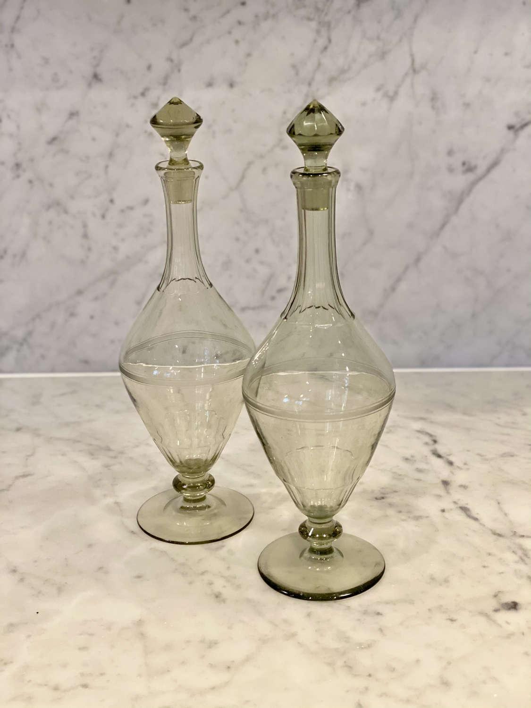 Pair of smokey green glass pedestal decanters, Scandinavian Circa 1910