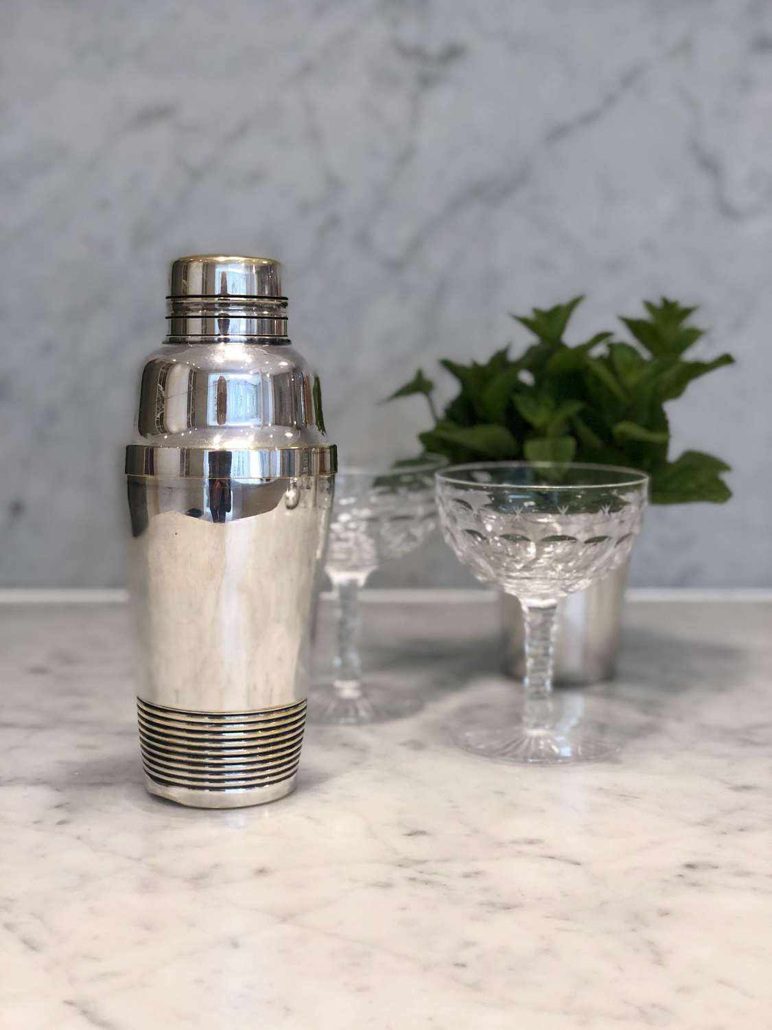 French Art Deco silver plated band cocktail shaker