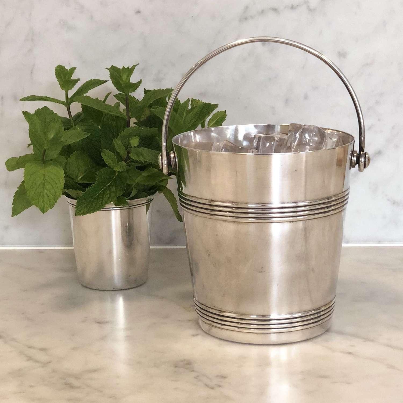 Art Deco silver plated Christofle swing handled ice bucket 1940s