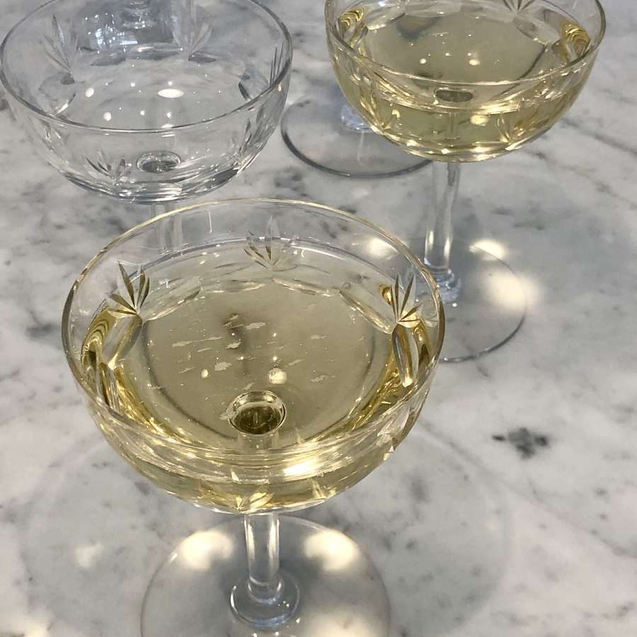 Six classic French fan cut champagne coupe saucers