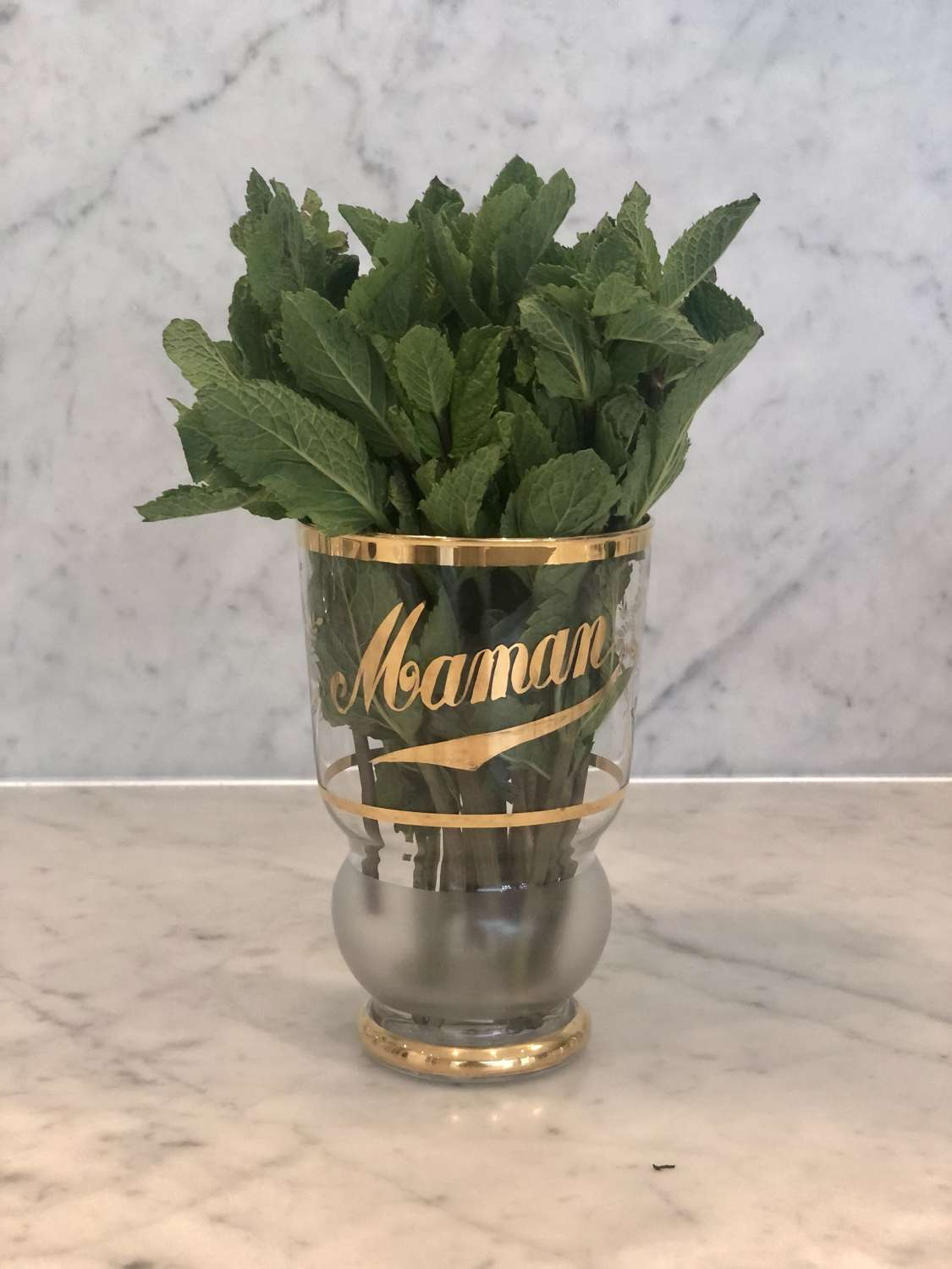 Beautifully kitch 1950s French gold plated glass vase