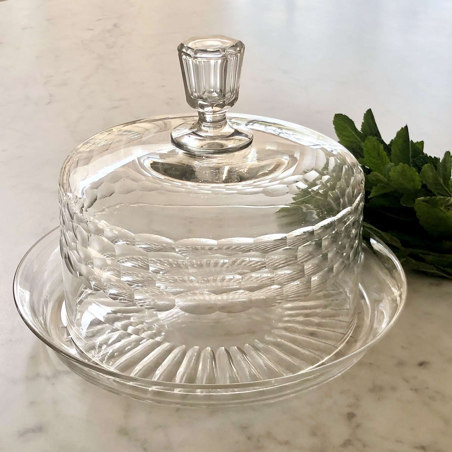 Baccarat crystal serving dome and matching star cut platter