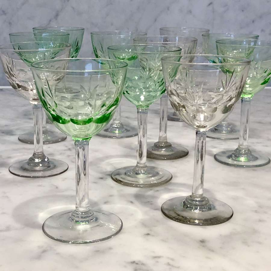 Harlequin set of 11 small Uranium and clear cut glasses