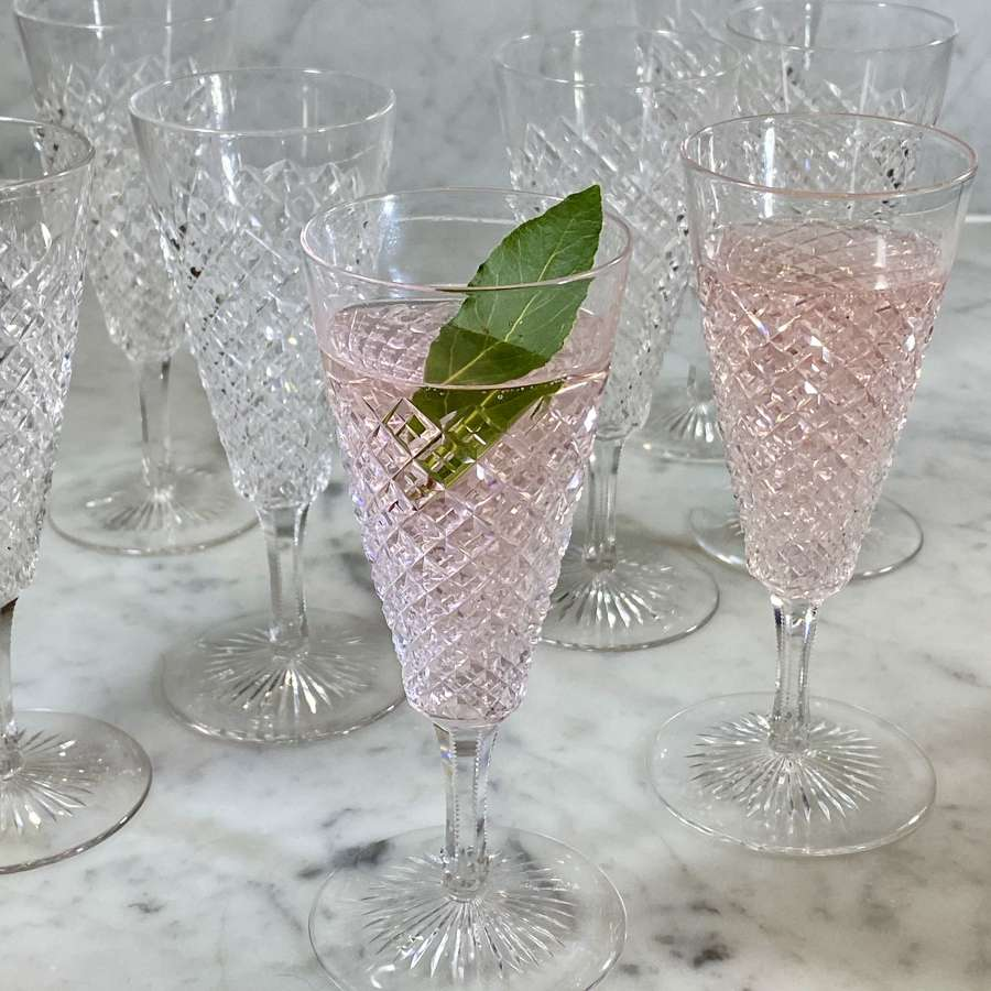 Superb set of 8 finest cut crystal champagne flutes, Circa 1910