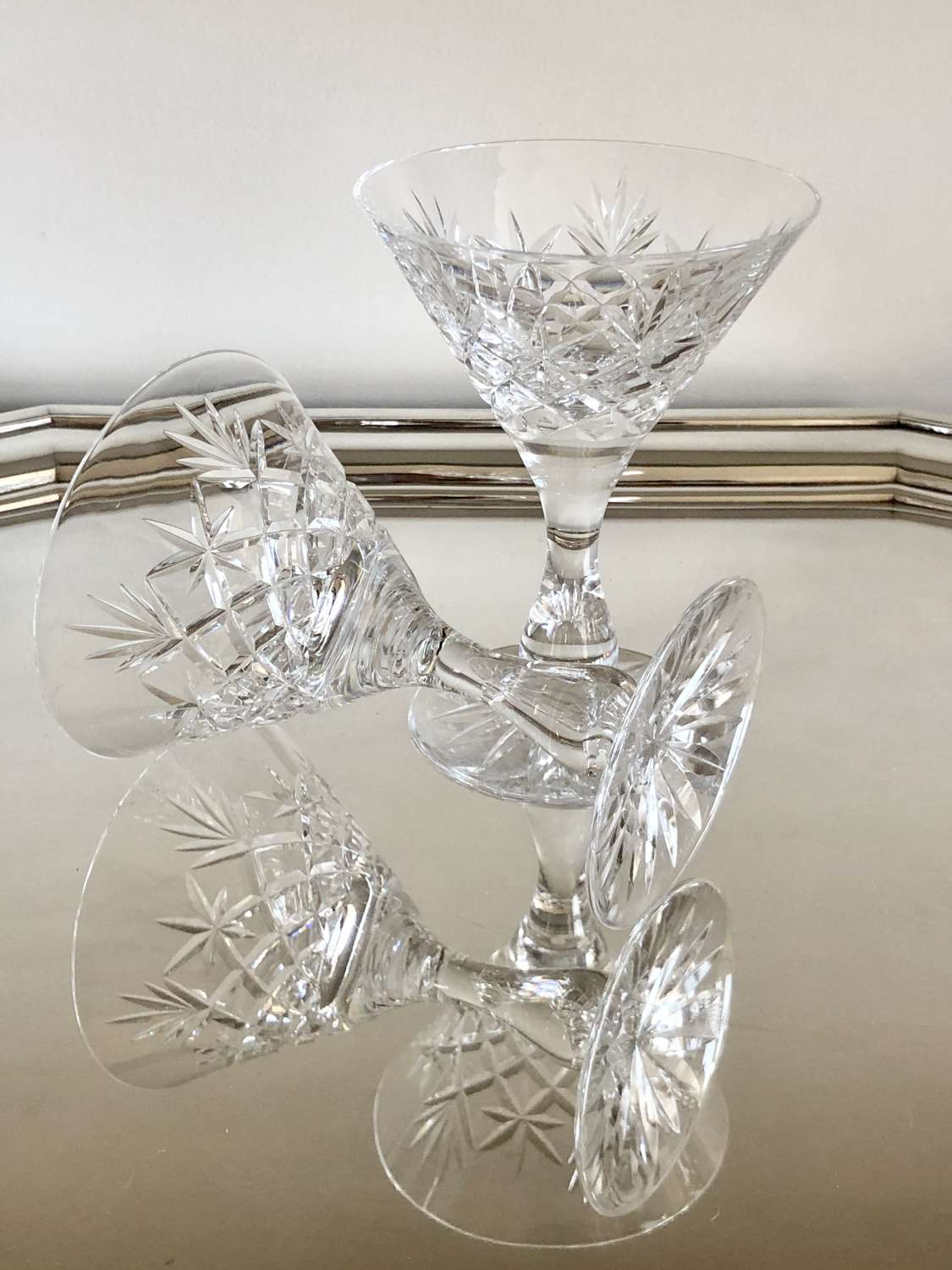 Pair of crystal Martini cocktail glasses, Circa 1930s
