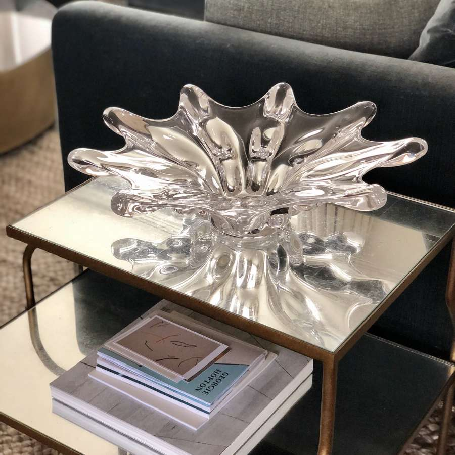 Giant French crystal nine point bowl vase by Vannes
