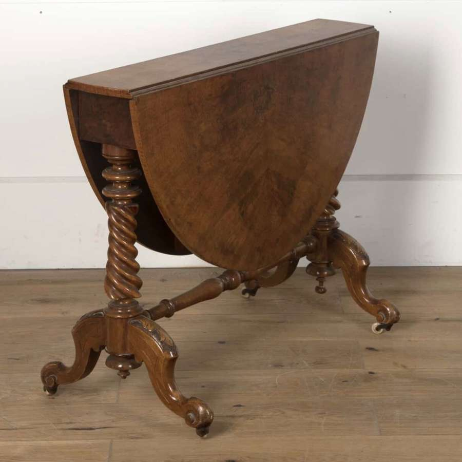 19th Century oval drop leaf walnut veneer table