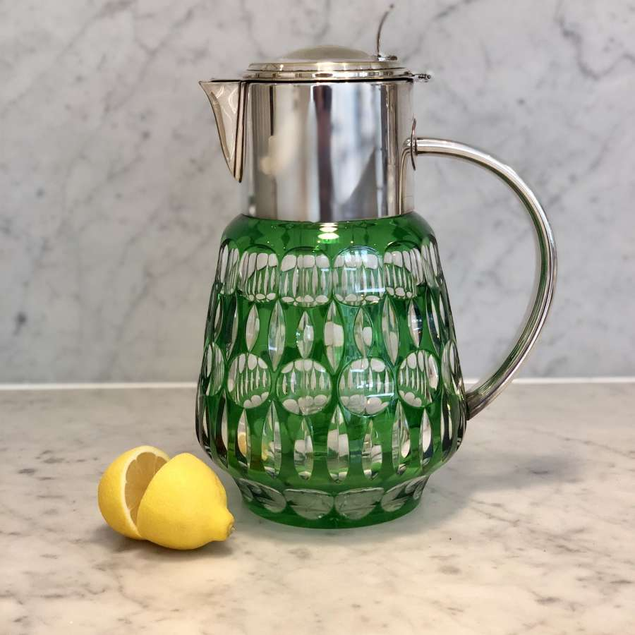 Green cut glass and silver plated lemonade cooling jug