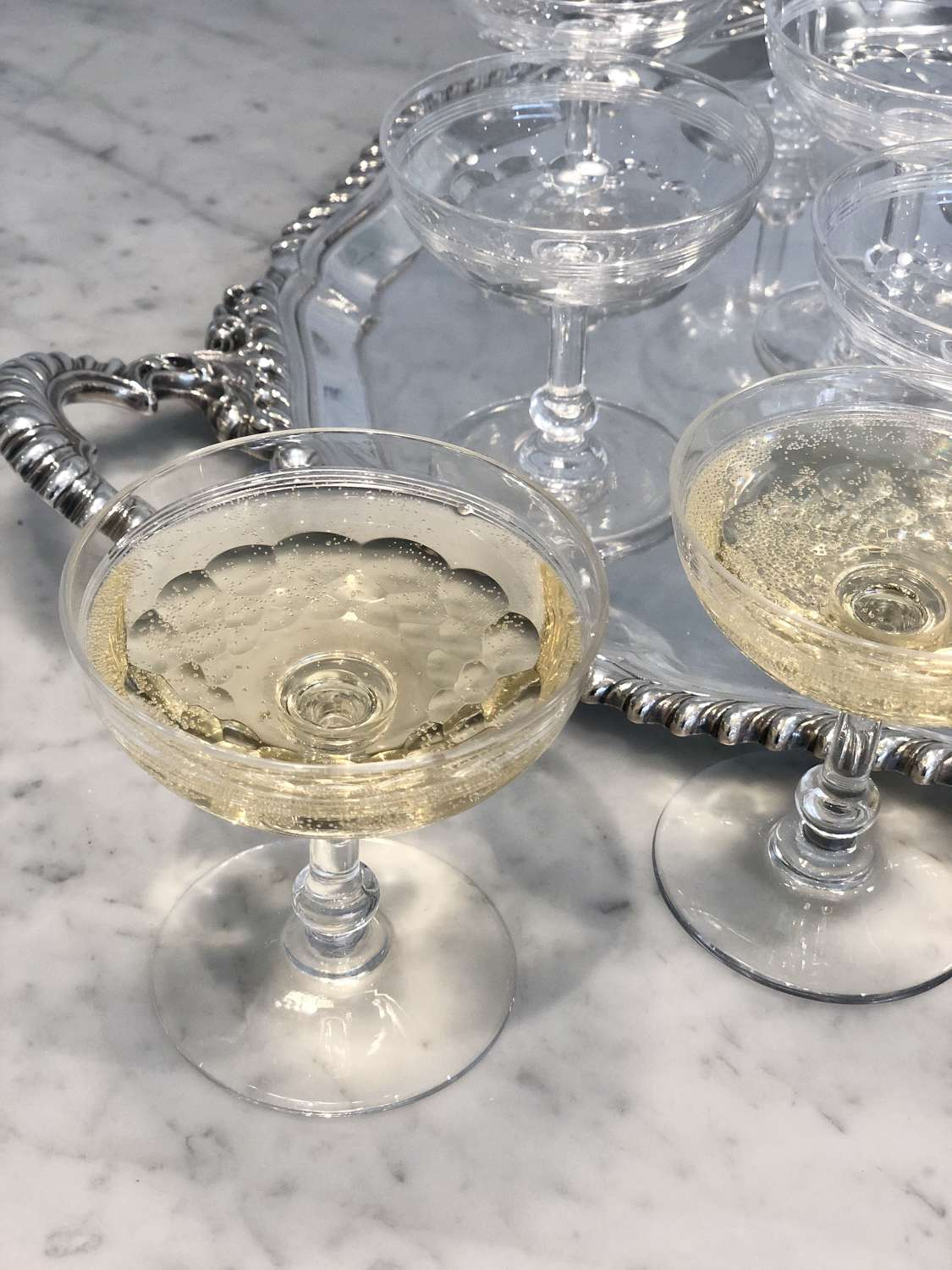 19th Century Baccarat crystal champagne coupe saucers