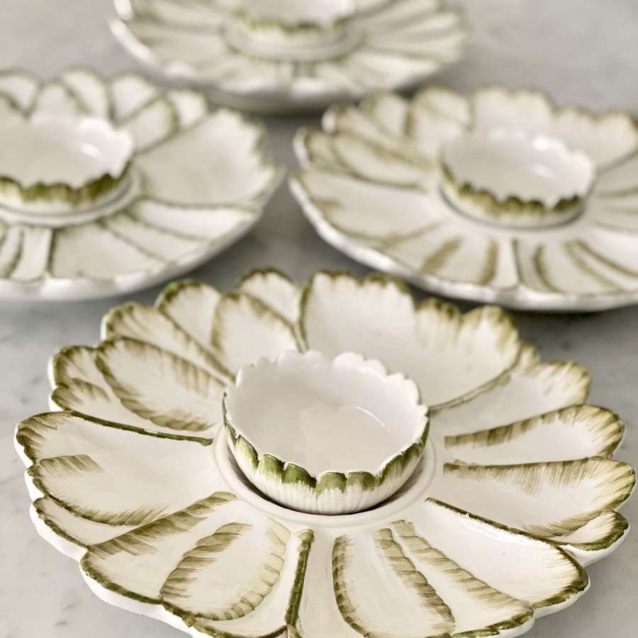 Rustic Italian ceramic crudités bowl sets Circa 1950