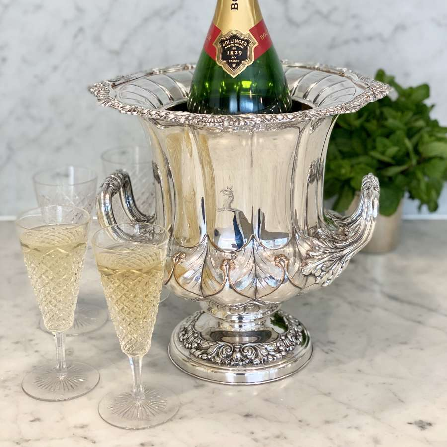 Superb quality 19th C silver plated champagne wine cooler